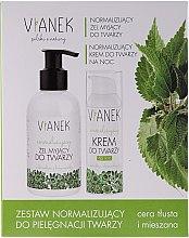 Kup Zestaw normalizujący do pielęgnacji twarzy - Vianek Seria zielona energetyzująca (gel 150 ml + cr 50 ml + mask 10 ml)