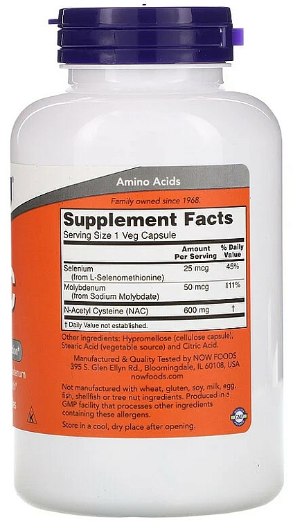 Suplement diety NAC, 600 mg - Now Foods NAC Veg Capsules — фото N5