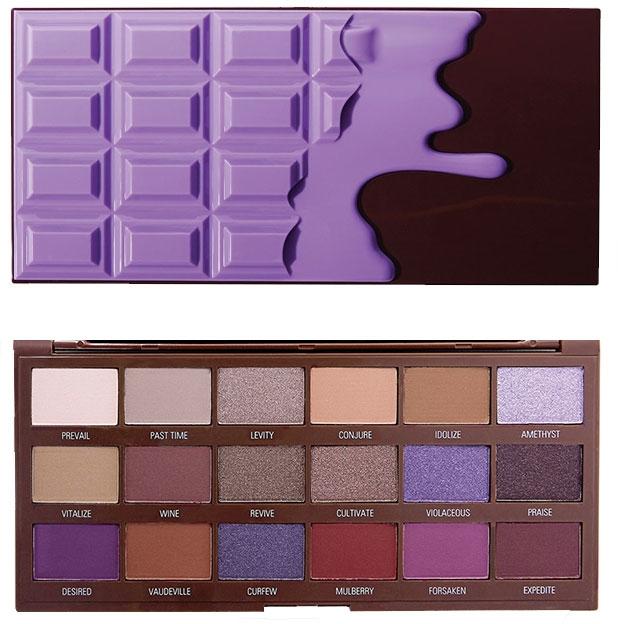 Paleta cieni do powiek, 18 odcieni - I Heart Revolution Eyeshadow Palette Violet Chocolate