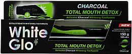 Kup Zestaw Całkowity detox z czarno-zieloną szczoteczką - White Glo Charcoal Total Mouth Detox (toothpaste 150 g + toothbrush)
