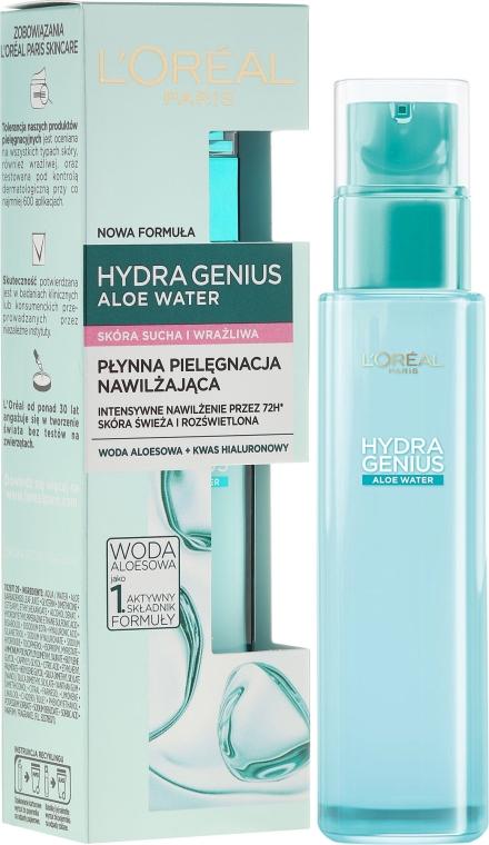 Płynna pielęgnacja nawilżająca do skóry suchej i wrażliwej Woda aloesowa + kwas hialuronowy - L'Oreal Paris Hydra Genius Aloe Water