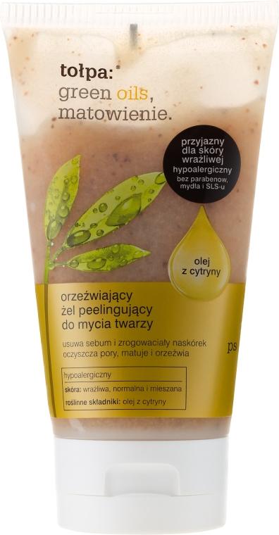 Orzeźwiający żel peelingujący do mycia twarzy - Tołpa Green Oils