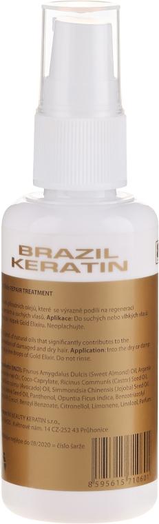 Naprawczy eliksir do włosów - Brazil Keratin Gold Elixir Repair Treatment — фото N2