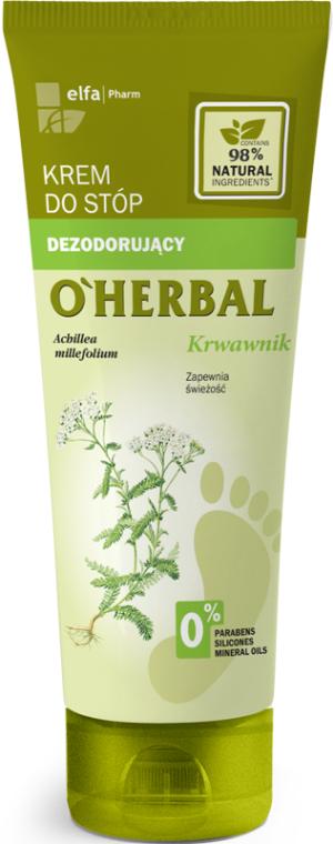 Dezodorujący krem do stóp Krwawnik - O'Herbal Deodorizing Foot Cream With Yarrow Extract — фото N1