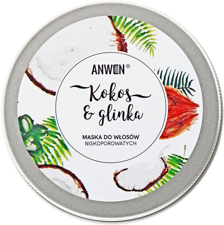Maska do włosów niskoporowatych Kokos i glinka - Anwen — фото N3