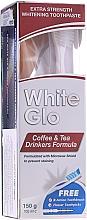 Kup Zestaw: wybielająca pasta do zębów dla miłośników kawy i herbaty + biało-niebieska szczoteczka - White Glo Coffee & Tea Drinkers Formula Whitening Toothpast (t/paste 100 ml + toothbrush)