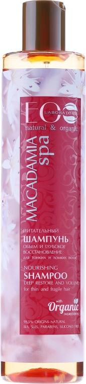 Odżywczy szampon do włosów Objętość i głęboka odbudowa - ECO Laboratorie Macadamia SPA Shampoo