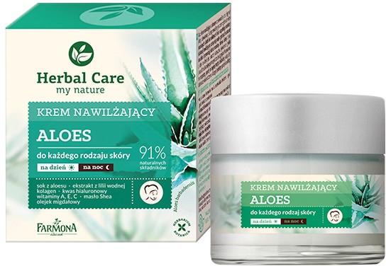 Krem nawilżający do każdego rodzaju skóry na dzień i na noc Aloes - Farmona Herbal Care Moisturizing Cream