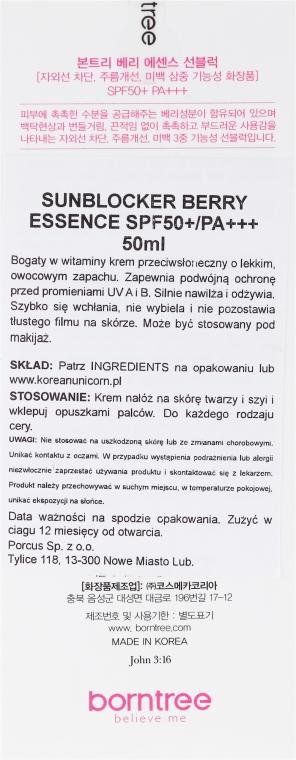 Krem przeciwsłoneczny z ekstraktami z jagód SPF 50+/PA+++ - Borntree Berry Essence Sun Block — фото N3