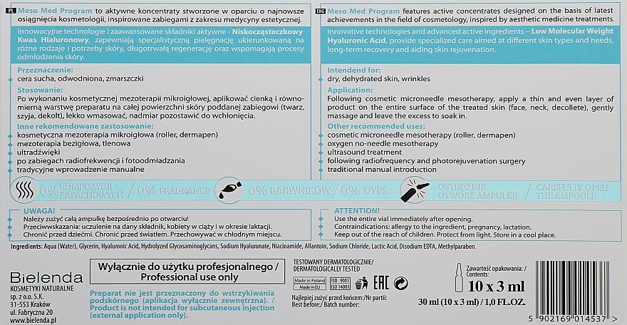 Aktywny koncentrat z niskocząsteczkowym kwasem hialuronowym - Bielenda Professional Meso Med Program — фото N3