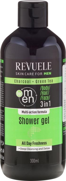 Żel pod prysznic - Revuele Men Charcoal Green & Tea 3in1 Body, Hair & Face Shower Gel — фото N1
