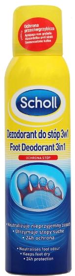 Dezodorant do stóp 3 w 1 - Scholl 3in1 Antiperspirant
