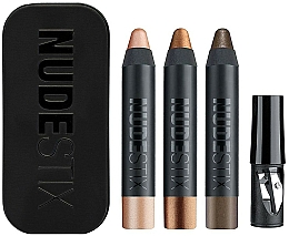 Kup Zestaw - Nudestix Mini Nude Metallic Eye (3 x eye/pencil 2,5 g + sharpener + box)