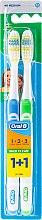 Kup Zestaw szczoteczek do zębów (40 średnia twardość, niebieska + zielona) - Oral-B 1 2 3 Maxi Clean 40 Medium 1+1