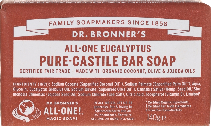 Mydło w kostce Eukaliptus - Dr. Bronner's Pure Castile Bar Soap Eucalyptus — фото N1