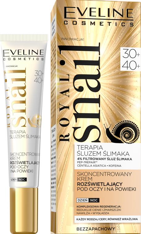 Skoncentrowany krem rozświetlający pod oczy na powieki 30+/40+ - Eveline Cosmetics Royal Snail
