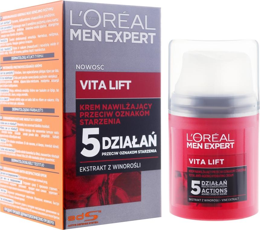 Nawilżający krem przeciwstarzeniowy dla mężczyzn - L'Oreal Paris Men Expert Vita Lift 5