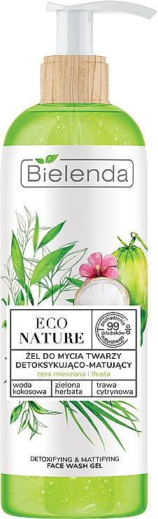 Żel do mycia twarzy - Bielenda Eco Nature Coconut Water Green Tea & Lemongrass Detox & Mattifyng Face Wash Gel