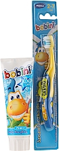 Kup Zestaw do mycia zębów z niebiesko-żółtą szczoteczką - Bobini (t/brush + t/paste/75 ml)