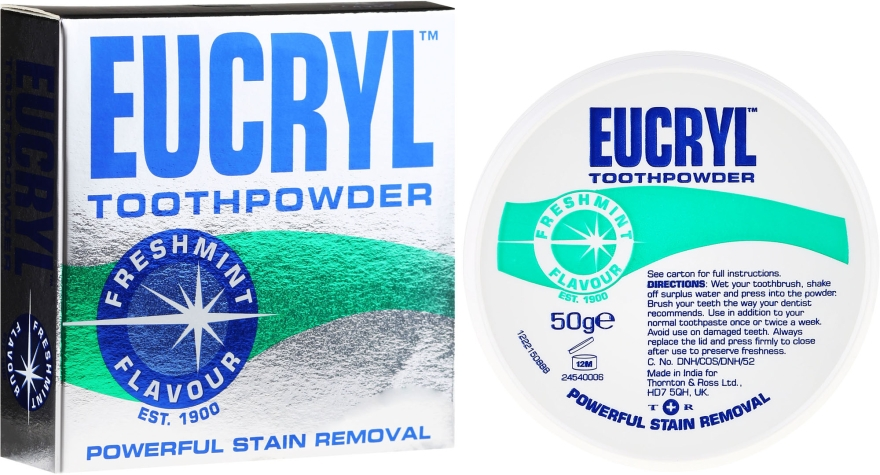 Wybielający puder do zębów - Eucryl Toothpowder Freshmint