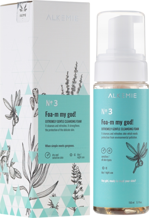 Ekstremalnie łagodna pianka do mycia i demakijażu twarzy - Alkemie Microbiome Foa-m my god!