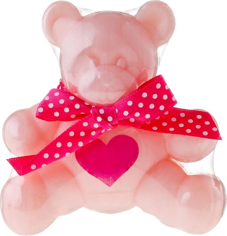 Glicerynowe mydło o zapachu słodkiej pianki z różą Miś Pysio - Chlapu Chlap