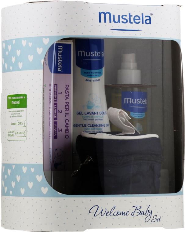 Zestaw - Mustela Welcome Baby Set Blue (b/gel/200ml + b/cr/50ml + b/oil/100ml + case)