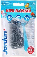Kup Zestaw Nici dentystyczne dla dzieci, szaro-niebieski - Jordan Kids Flosser (floss/1pc + refils/36pcs)