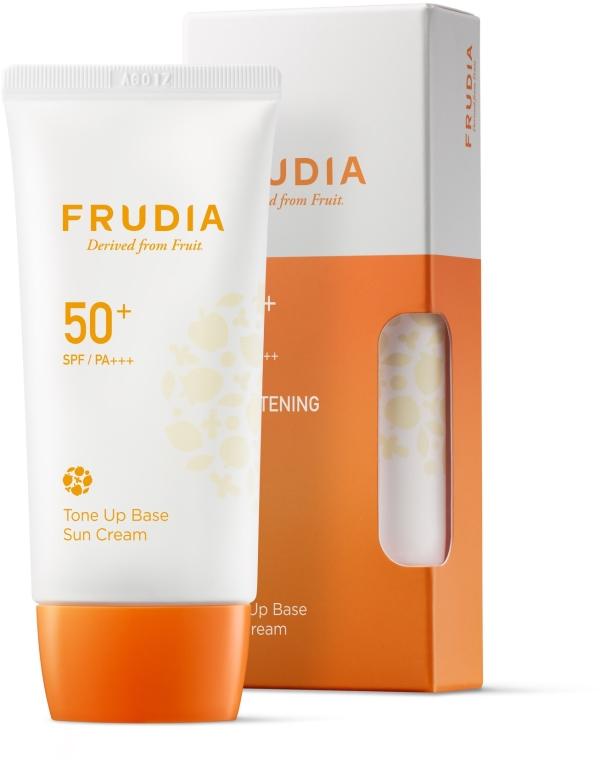 Przeciwsłoneczny krem-podkład do twarzy - Frudia Tone Up Base Sun Cream SPF50 — фото N1