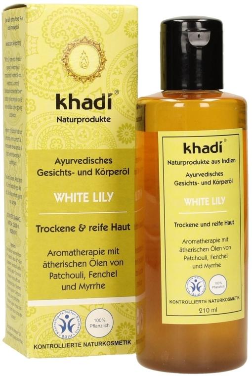 Olejek do twarzy i ciała do skóry suchej i dojrzałej Biała lilia - Khadi White Lily Ayurvedic Face & Body Oil — фото N2