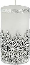 Kup Świeca ozdobna koronkowa, szara, 7x14 cm - Artman Lace Christmas