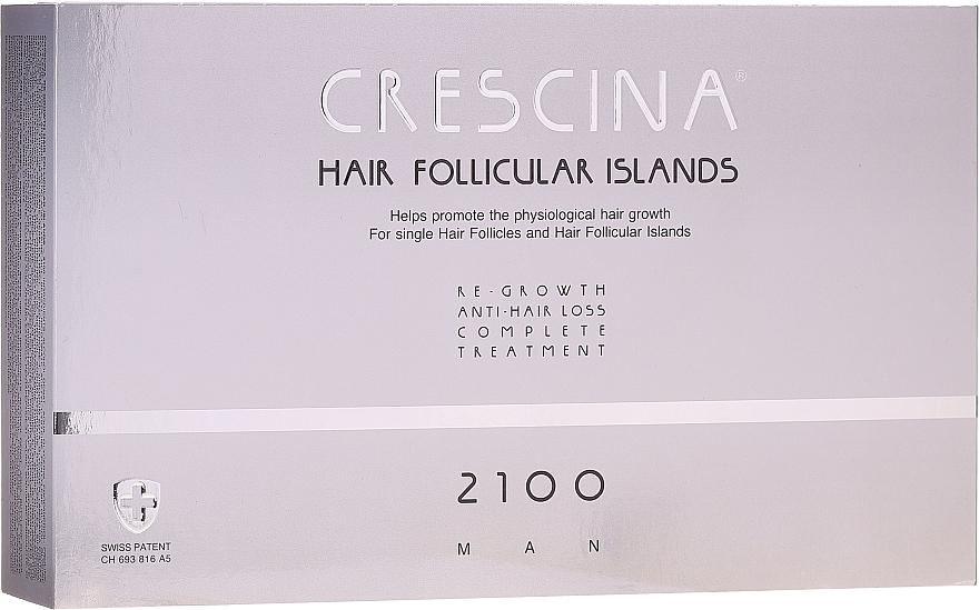 Kuracja dla mężczyzn stymulująca odrastanie włosów i zapobiegająca ich wypadaniu 2100 - Crescina Hair Follicular Island Re-Growth Anti-Hair Loss Complete Treatment 2100 Man — фото N1