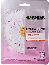Kup Rozświetlająca złota maska do twarzy - Garnier Skin Naturals Hydra Bomb Tissue Mask Camomile