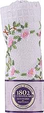 Kup Bawełniany ręcznik do rąk, biały z haftowaną gałązką róży - Le Chatelard 1802