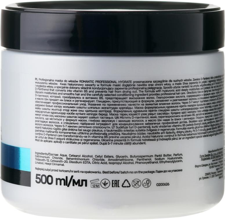 Nawilżająca maska do włosów suchych z kwasem hialuronowym i d-panthenolem - Romantic Professional Hydrate — фото N2