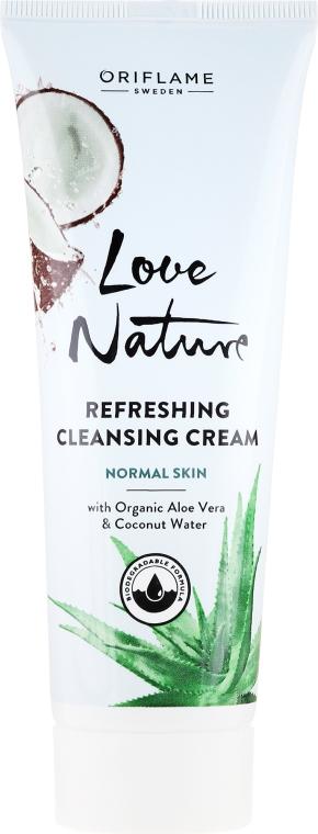 Oczyszczający krem do twarzy z organicznym aloesem i wodą kokosową - Oriflame Love Nature Refreshing Cleansing Cream — фото N1