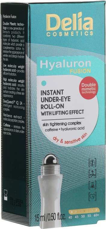 Liftingujący roll-on pod oczy - Delia Lifting Roll-On 3D Hyaluron Gel — фото N1