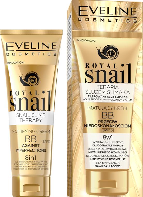 Matujący krem BB przeciw niedoskonałościom 8 w 1 - Eveline Cosmetics Royal Snail BB Cream 8in1