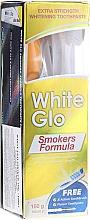 Kup Zestaw wybielający zęby dla palaczy, niebieska szczoteczka - White Glo Smokers Formula (toothpaste/100ml + toothbrush + toothpicks)