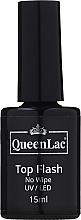 Kup Top coat do lakieru hybrydowego - QueenLac Top Flash No Wipe UV/LED