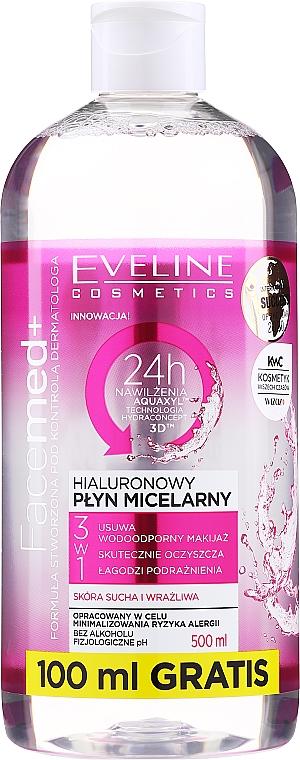 Hialuronowy płyn micelarny 3 w 1 - Eveline Cosmetics Facemed+