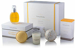 Kup Zestaw - AromaWorks Serenity Body Indulgence Gift Set (bath/bomb 2 x 250 g + candle 75 g + b/oil 100 ml + flannel)