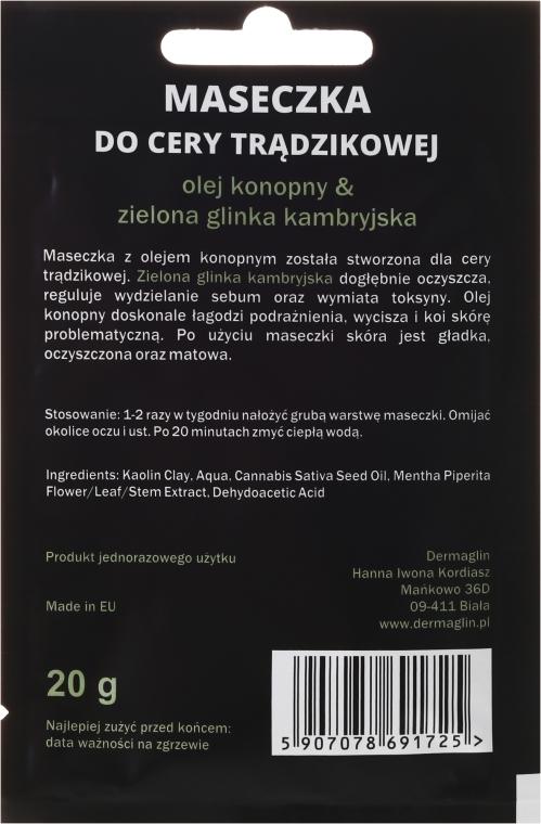 Maseczka do cery trądzikowej dla mężczyzn z olejem konopnym i zieloną glinką kambryjską - Dermaglin Natural Product For Men — фото N2