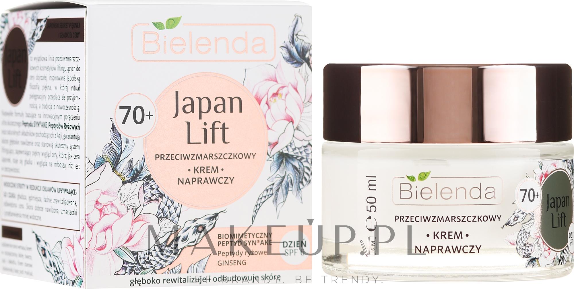 Przeciwzmarszczkowy krem naprawczy do twarzy na dzień 70+ SPF 6 - Bielenda Japan Lift — фото 50 ml