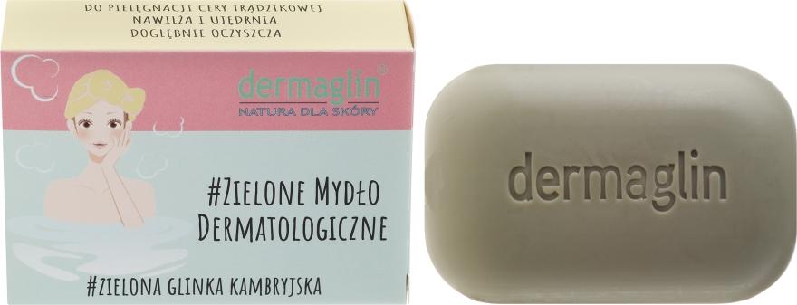Mydło dermatologiczne do skóry wrażliwej Zielona glinka kambryjska + len - Dermaglin