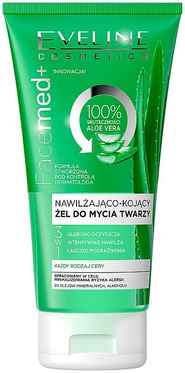 Nawilżająco-kojący żel do mycia twarzy 3 w 1 - Eveline Cosmetics Facemed+