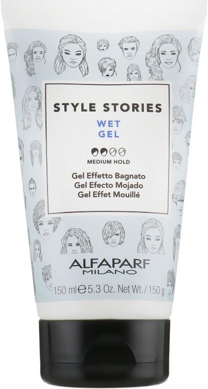 Żel do stylizacji włosów z efektem mokrych włosów - Alfaparf Milano Style Stories Wet Gel Medium Hold — фото N1