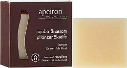 Kup Naturalne mydło do skóry wrażliwej Jojoba i sezam - Apeiron Jojoba & Sesame Vegetable Oil Soap