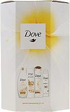 Kup Zestaw do pielęgnacji ciała - Dove Perfect Pampering Gift Set (sh/gel 250 ml + b/lot 250 ml + shm 250 ml + deo/spray 150 ml)