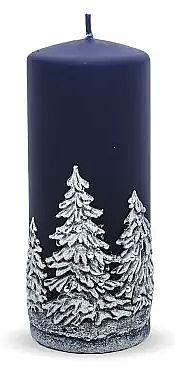 Świeca dekoracyjna, granatowa, choinki, 7 x 18 cm - Artman Christmas Tree Candle — фото N1